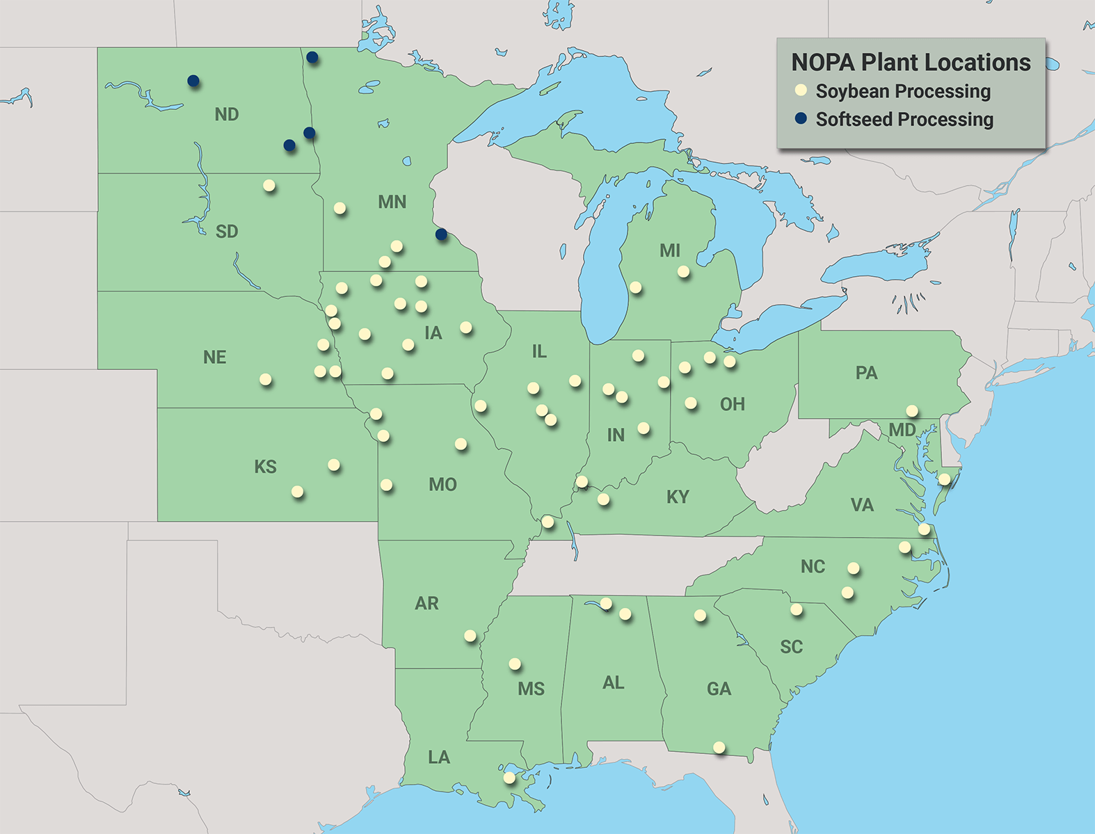 Map with NOPA locations indicated